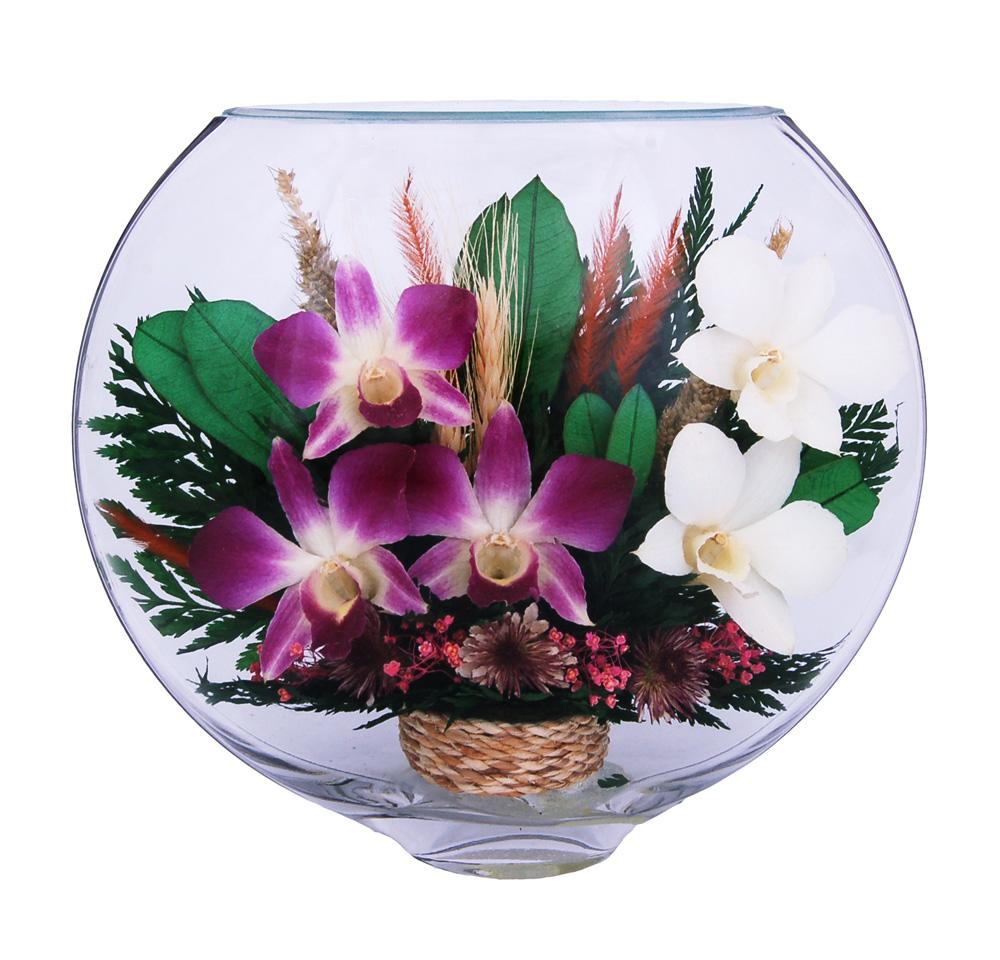 Розы и орхидеи в стекле