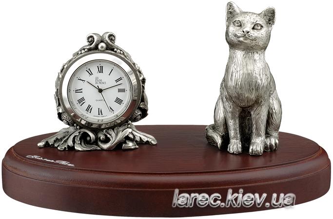 Подарок Оловянные часы Кошка
